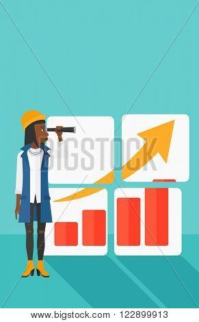 Woman looking at positive bar chart.