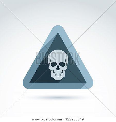 Vector illustration of human skull in triangle. Dead head abstract symbol cranium icon. Caution concept.