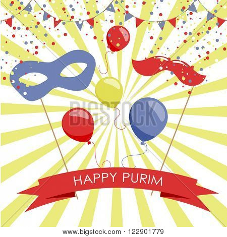 Purim holiday card or banner design. Bright carnival mask, balloon and moustaches. Flag garlands and confetti. Symbols of purim carnival.