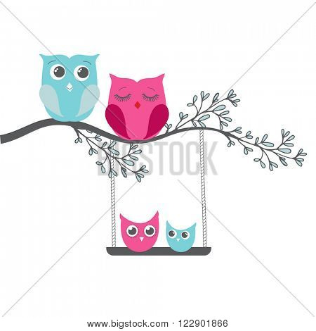 Owl family sitting on a tree branch. Father, mother, son and daugther. Vector family concept.