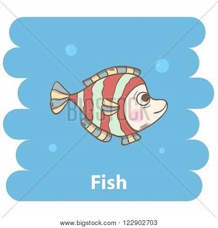 Cute cartoon fish vector illustration.Cartoon animal fish  isolated on background.Sea fish, baby fish, sea animal.Vector fish marine animal.Cute fish vector illustration.Abstract  fish character