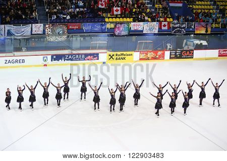 ZAGREB,CROATIA - MARCH 12: Team Canada 1 perform in the Juniors Free Skating during Day 2 of the ISU Synchronized Skating Junior World Challenge Cup at Dom Sportova on March 12,2016 in Zagreb,Croatia.