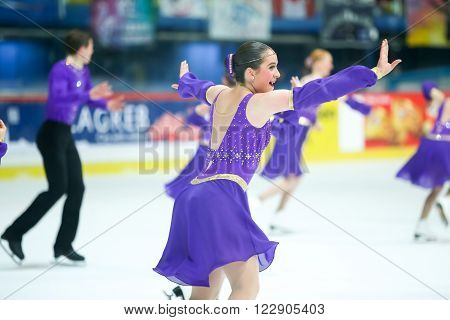 ZAGREB, CROATIA - MARCH 12 : USA 2 perform in the Juniors Free Skating during Day 2 of the ISU Synchronized Skating Junior World Challenge Cup at Dom Sportova on March 12, 2016 in Zagreb, Croatia.