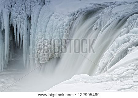 Godafoss in winter. Godafoss is one of the most spectacular waterfalls in Iceland
