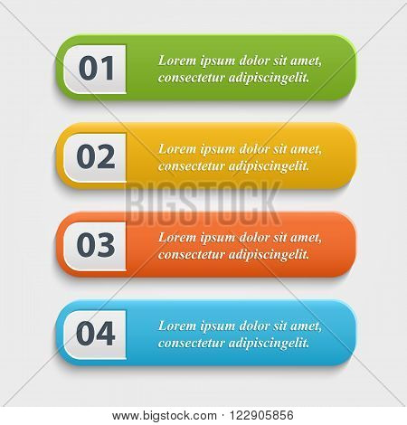 Vector  realistic Web buttons, banner, infographic  with numbers.Vector set web colorful  buttons.Buttons vector illustration.Button isolated on white background.Color Button vector icons set.