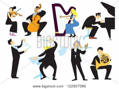 Music orchestra people, isolated on white background. Conductor, trumpet player, pianist, cellist, violinist. Vector musicians.