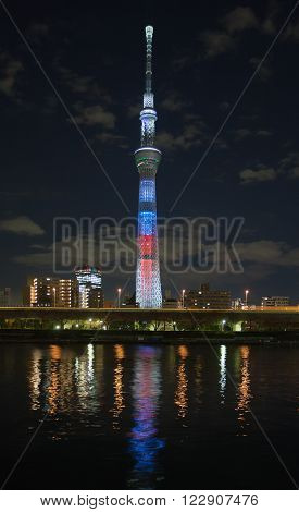 TOKYO,JAPAN - DEC 18 , 2015 : The Tokyo Skytree is a new television broadcasting tower and landmark of Tokyo. It is the centerpiece of the Tokyo Skytree Town in the Sumida City Ward.