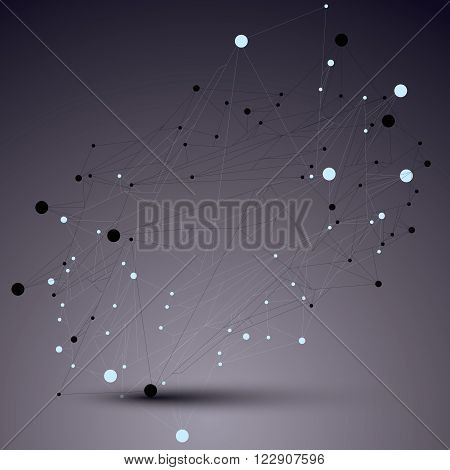 Spatial vector monochrome digital object 3d technology figure with geometric elements and black wireframe.