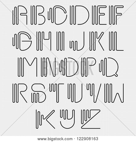 Original curved latin alphabet set. Linear uppercase modern font, typeface, english thin black alphabet isolated on white background. Contemporary vision of vintage Art Deco typography style.