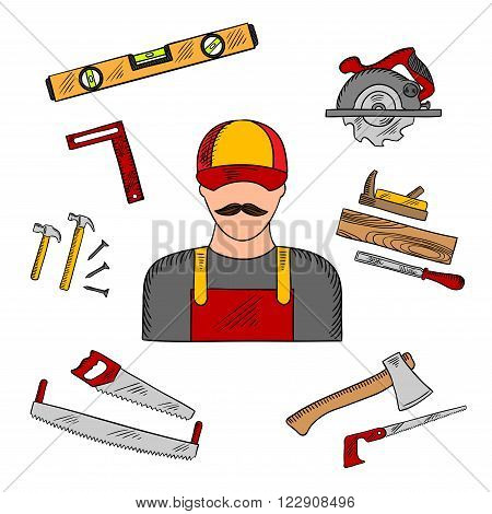 Carpenter profession with tools and equipment icons with hammer and hand saw, axe and circular saw, rasp and jack plane, measuring level and angle ruler. Sketch style