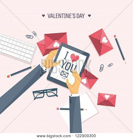 Vector illustration. Flat background with tablet. Love, hearts. Valentines day. Be my valentine. 14 february.