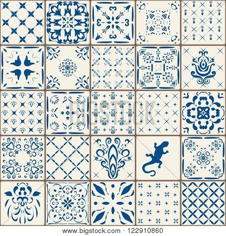 Indigo Blue Tiles Floor Ornament Collection. Gorgeous Seamless Patchwork Pattern from Colorful Traditional Painted Tin Glazed Ceramic Tilework Vintage Illustration. For web page template background. poster