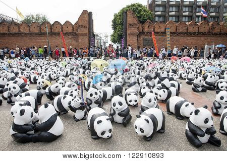 CHIANG MAI,THAILAND March 19, 2016 : Pandas World Tour by WWF exhibition of the 1,600 paper mache pandas during a flash mob  world tour made by French artist Paulo Grangeon at Tha Phae Gate, Chiang Mai.