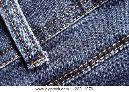 Blue jeans background, belt loop detail. Denim macro