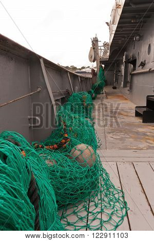Fishing net on a fishing trawler vessel.