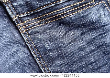 Denim macro. Blue jeans background, back pocket detail