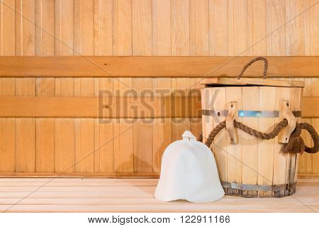 Wooden Tub And A Woolen Cap, Close-up In The Sauna