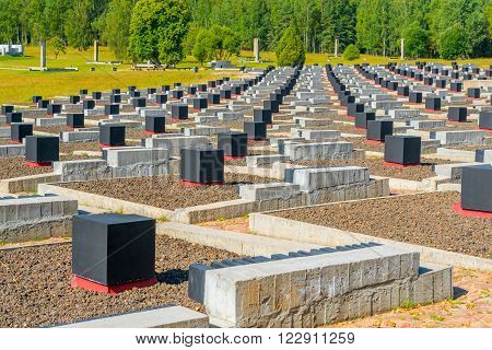 Khatyn, Belarus - 20 August 2015: memorial complex Khatyn, cemetery for annihilated villages