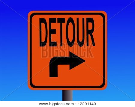 Detour sign with arrow pointing to right JPG