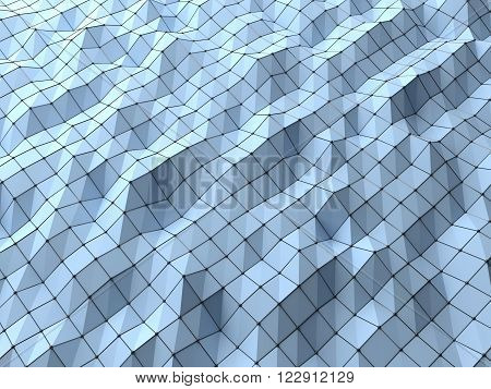 Modern science abstract polygonal geometric shapes background weaved by wire mesh structures nodal . Shapes linked in 3D space shade with bright light. Top view of science low poly background 3D rendering. poster
