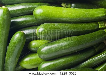 Close up of fresh courgettes or zucchini. It can be used as a background