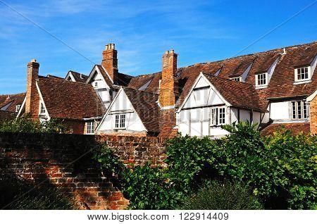 Rooftop window detail in Tudor style buildings Tewkesbury Gloucestershire England UK Western Europe.