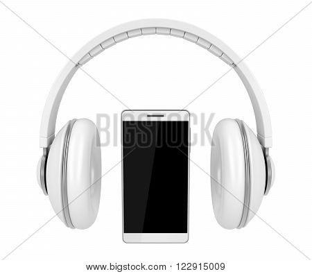 3D Illustration of white colored smartphone and headphones isolated on white background