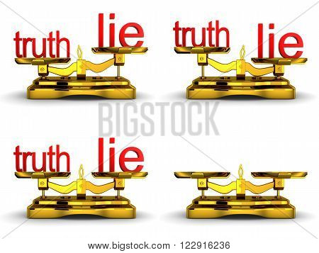 Scales balance and note truth and lie (done in 3d)