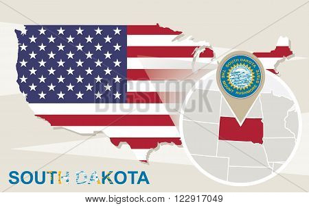 Usa Map With Magnified South Dakota State. South Dakota Flag And Map.