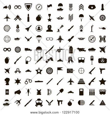 100 military icons set use for any design
