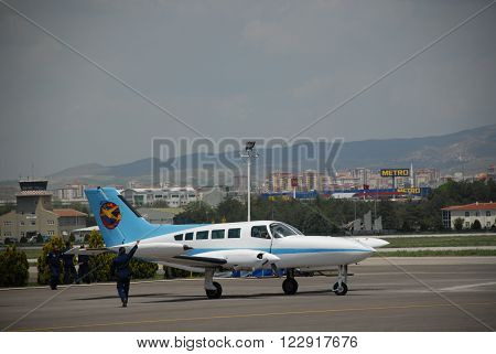 ANKARA/TURKEY-MAY 6:Cessna 402 Businessliner twin aircraft at the Turkish Air Association-THK's Etimesgut Airport during the air fest.May 6, 2012-Ankara/Turkey