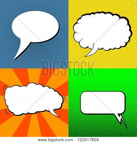 Set of speech bubbles. Stylized pop art speech bubbles. Pop art styled speech bubbles set. Comics pop-art style blank speech bubbles template. Template of retro speech buble for your design. Vector EPS10.