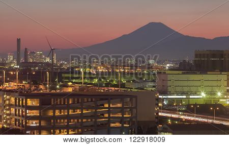 Kawasaki industry city and Mountain fuji at sunset
