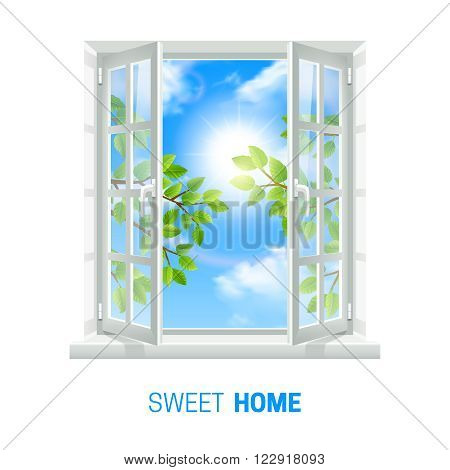 Open white window on bright sunny day realistic indoor view icon with green leaves outside vector illustration