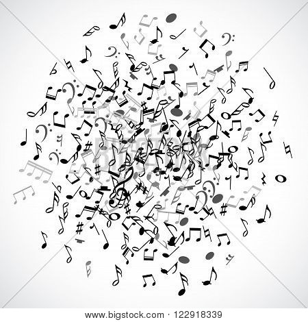 Abstract musical dot element with black notes on white background. Vector Illustration for music design. Modern pop  concept art melody banner. Sound key decoration with music symbol sign.