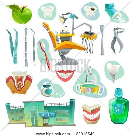 Dental office decorative icons set with workplace medical instruments objects for health of teeth isolated vector illustration