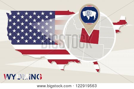 Usa Map With Magnified Wyoming State. Wyoming Flag And Map.