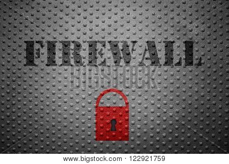 Metal with Firewall text and red lock -- internet security concept