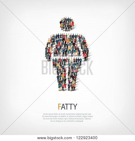 Isometric set of fat, fat man, web infographics concept vector illustration of a crowded square, flat 3d. Crowd point group forming a predetermined shape. Creative people.