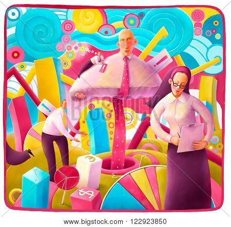 An illustration on business theme Alice in Businessland - a composition with cubic graphs using Alice  business theme