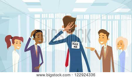 Business People Group Laughing, Kick Me Note On Businessman Back, Joke Fool Day April Holiday Vector Illustration poster
