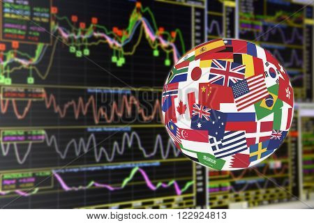 Flags globe over the display of daily stock market charts of financial instruments for technical analysis including price momentum MACD and volume analysis. Global stock market investment concept.
