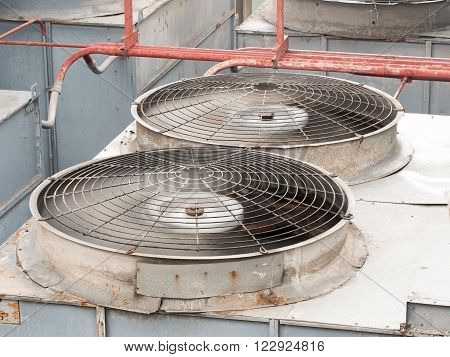 HVAC (Heating Ventilation and Air Conditioning) spinning blades / Closeup of ventilator / Industrial ventilation fan background / Air Conditioner Ventilation Fan / Ventilation system