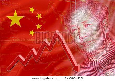 Flag of China with a chart of financial instruments and the face of Mao Zedong on RMB (Yuan) 100 bill. A red downtrend arrow indicates the stock market enter recession period.