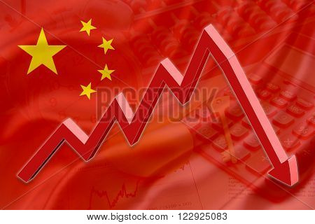 Flag of China with a background of an abacus a calculator a clock a golden key a golden egg and a red downtrend arrow indicates the stock market enter recession period.