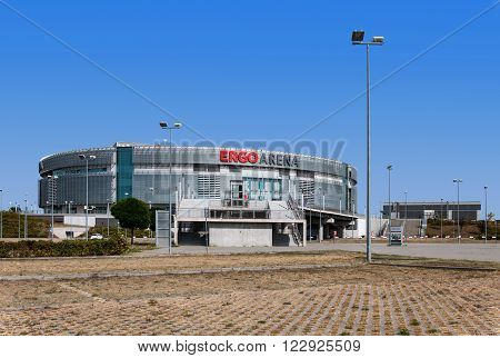 SOPOT, GDANSK, POLAND - AUGUST 22 2015: Ergo Arena in Sopot. Modern entertainment and sports venue. One of the the biggest in Poland