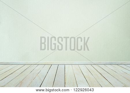 Empty interior wood room white wooden wall and floor For display of product.