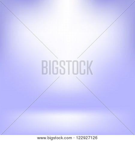Empty Studio. Light Blue Abstract Background with Radial Gradient Effect. Spotlights Blurred Background. Flat Wall and Floor in Empty Spacious Room Interior for Your Products
