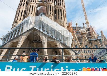 Tourist Coach Near Sagrada Familia In Barcelona