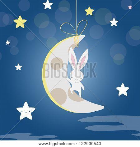 White Bunny Moon Night